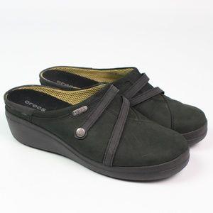 Crocs hunter green nubuck mules slip on shoes